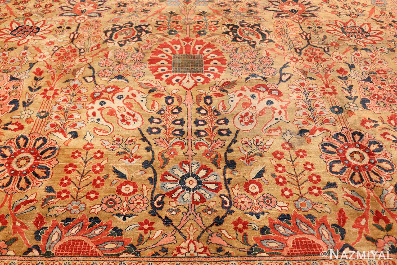 gold background antique persian sarouk farahan rug 49169 design Nazmiyal