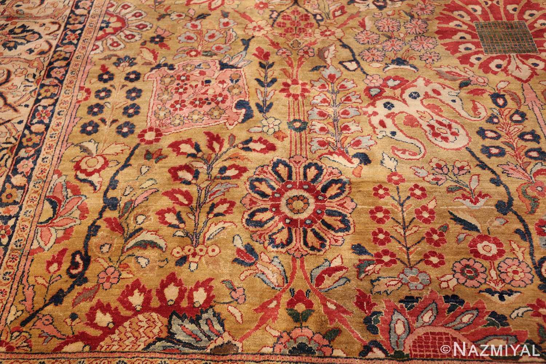 gold background antique persian sarouk farahan rug 49169 flower Nazmiyal