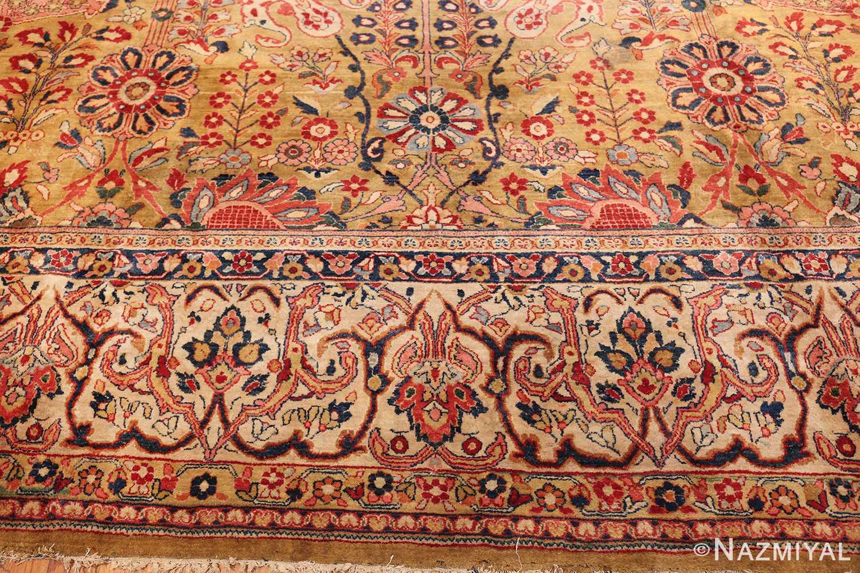 gold background antique persian sarouk farahan rug 49169 side Nazmiyal