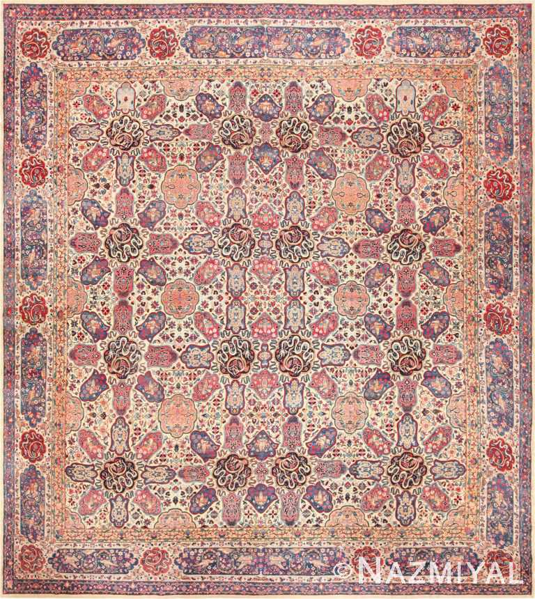 Fine Beautiful Ivory Antique Persian Floral Kerman Rug 49190 by Nazmiyal