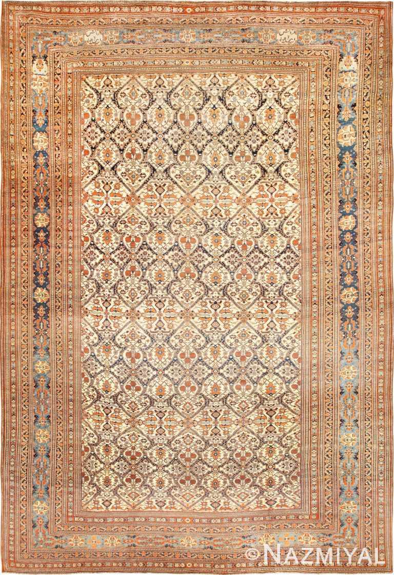 Ivory Background Fine Antique Persian Haji Jalili Tabriz Rug 49170 Nazmiyal