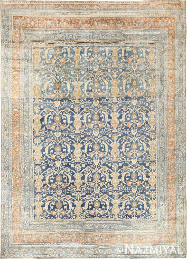 Large Light Blue Background Antique Persian Khorassan Rug 49172 Nazmiyal