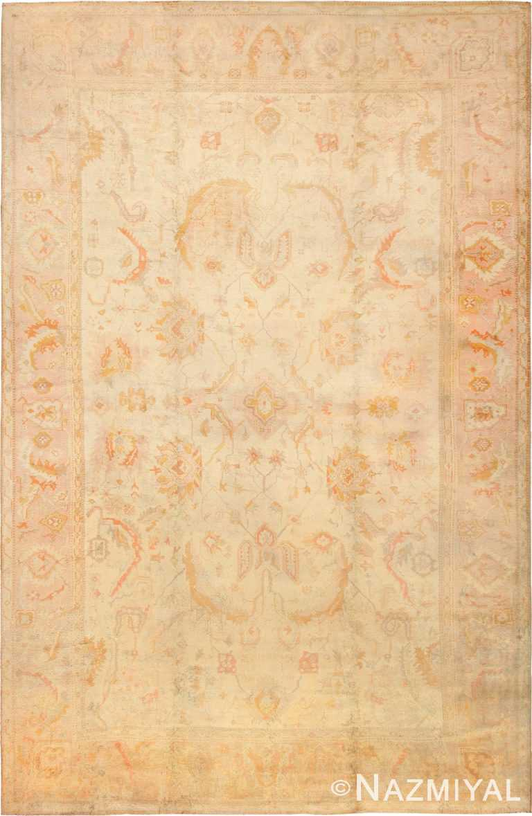 Large Oversized Cream Antique Decorative Turkish Oushak Rug #49166 by Nazmiyal Antique Rugs