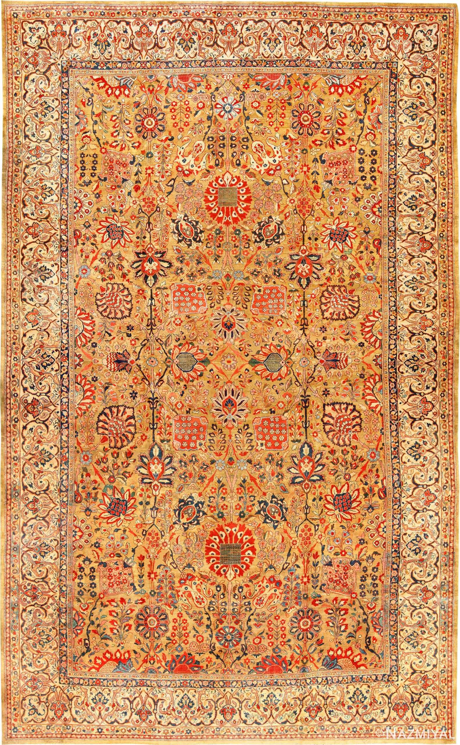 Large Scale Gold Background Vase Design Antique Persian Sarouk Rug 49169 Nazmiyal