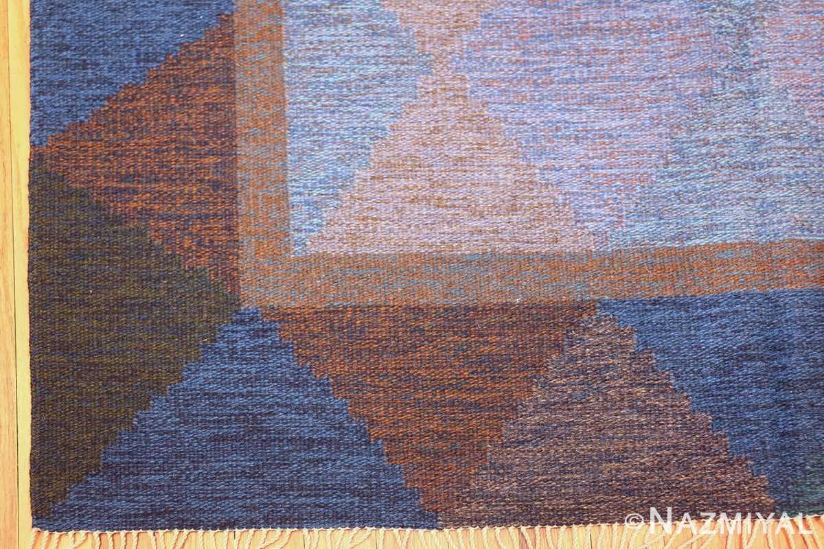 Mid Century Vintage Scandinavian Swedish Kilim rug 49134 corner view Nazmiyal