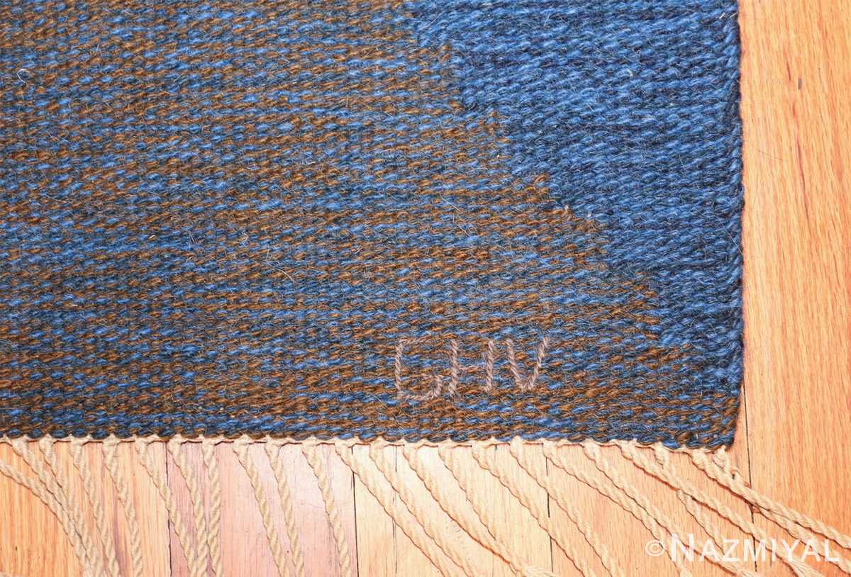 Mid Century Vintage Scandinavian Swedish Kilim rug 49134 signature initials Nazmiyal
