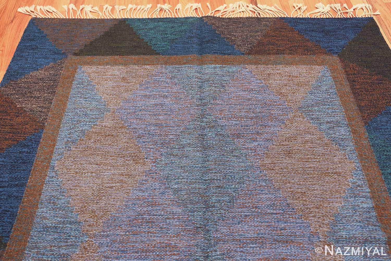 Mid Century Vintage Scandinavian Swedish Kilim rug 49134 top perspective Nazmiyal