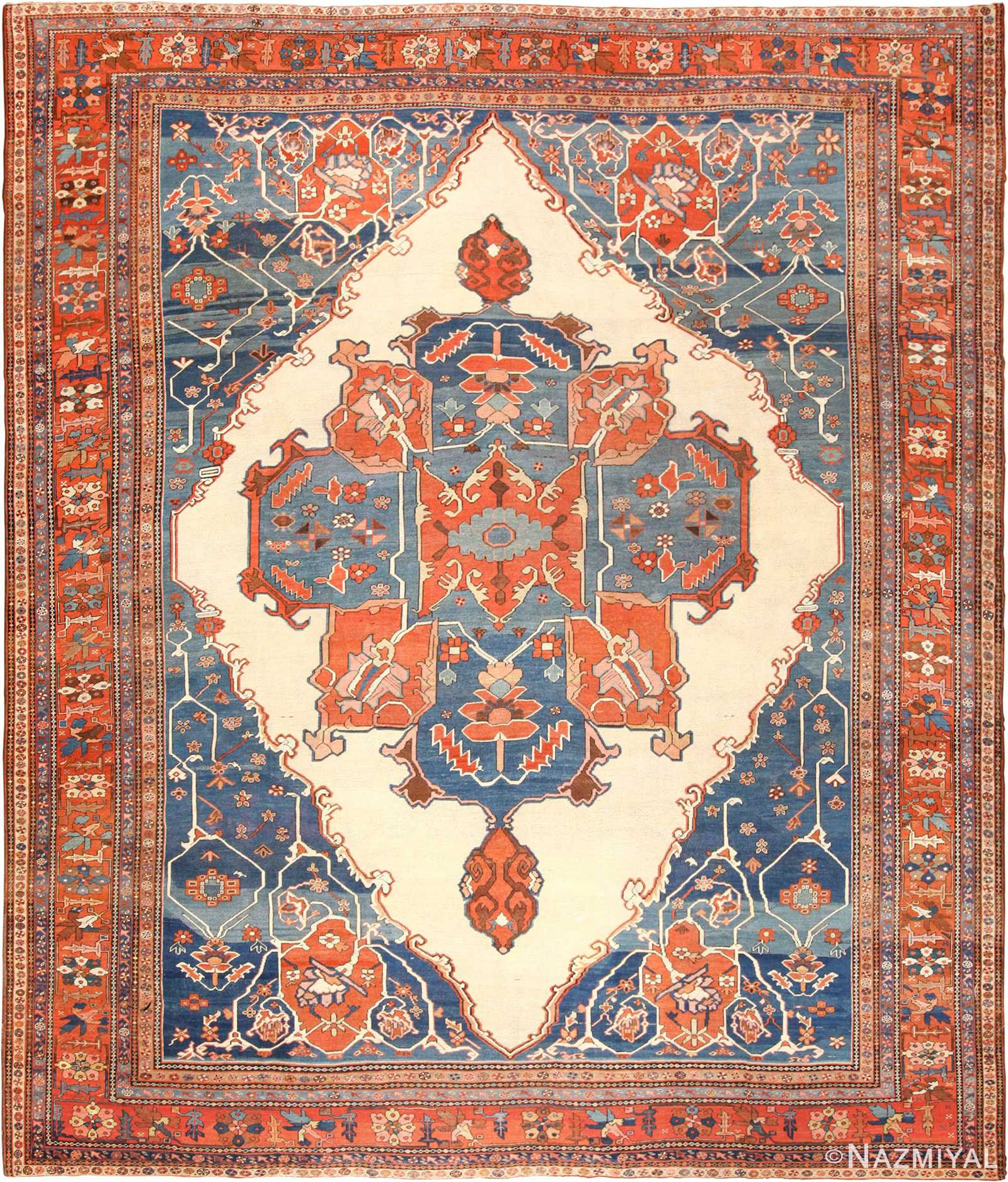 Room Size Antique Persian Heriz Serapi Bakshaish Rug 48772 Nazmiyal
