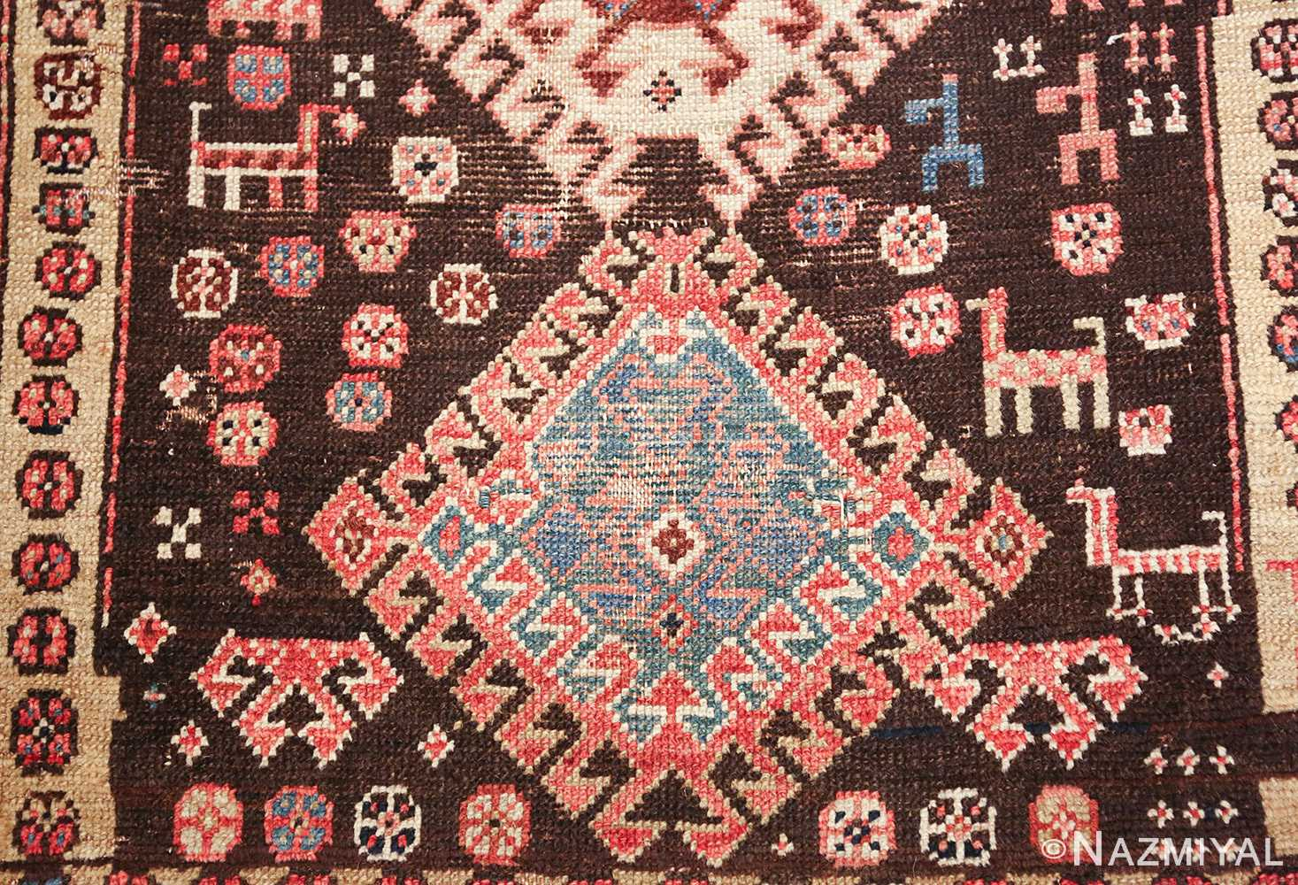 shabby chic antique persian kurdish rug 49150 medallion Nazmiyal