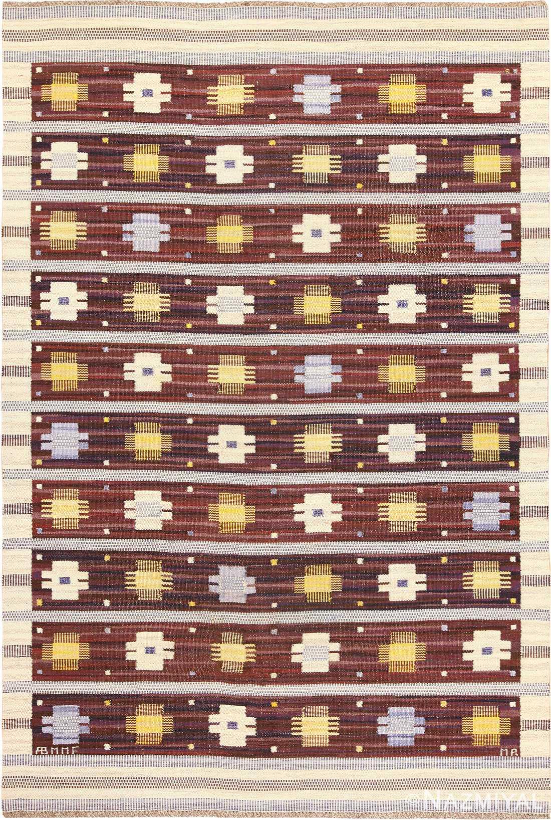 Vintage Scandinavian Kilim Rug by Marianne Richter for Marta Maas 49117 Nazmiyal