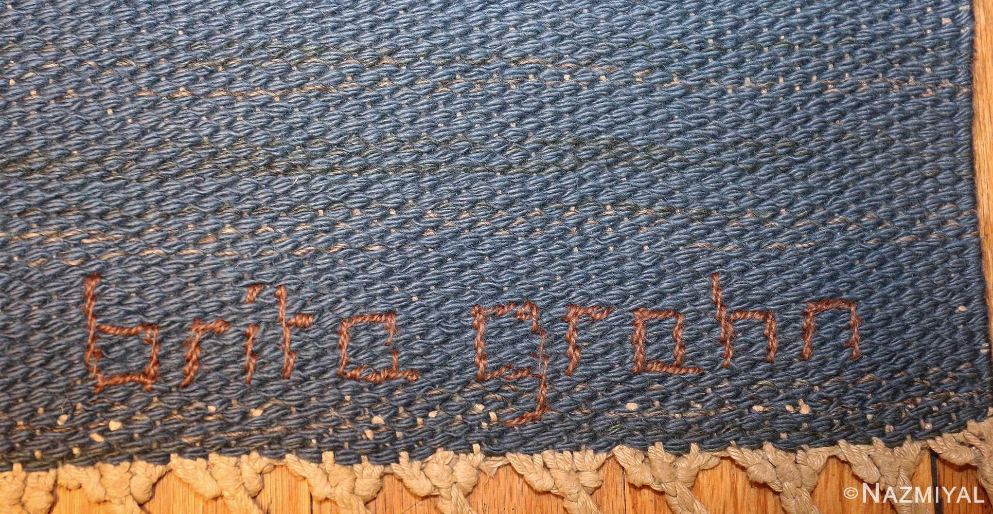 vintage swedish kilim rug by brita grahn 49119 signature Nazmiyal