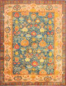 antique blue background turkish oushak rug 49108 Nazmiyal