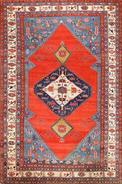 Antique Tribal Medallion Persian Bakshaish Rug 49199