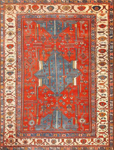 Antique Tribal Persian Bakshaish Rug 49137
