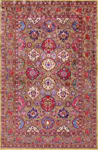 fine antique silk and metallic thread persian souf kashan 49205 Nazmiyal