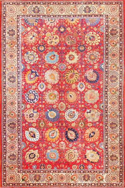 Large Antique Vase Design Persian Tabriz Rug 49196