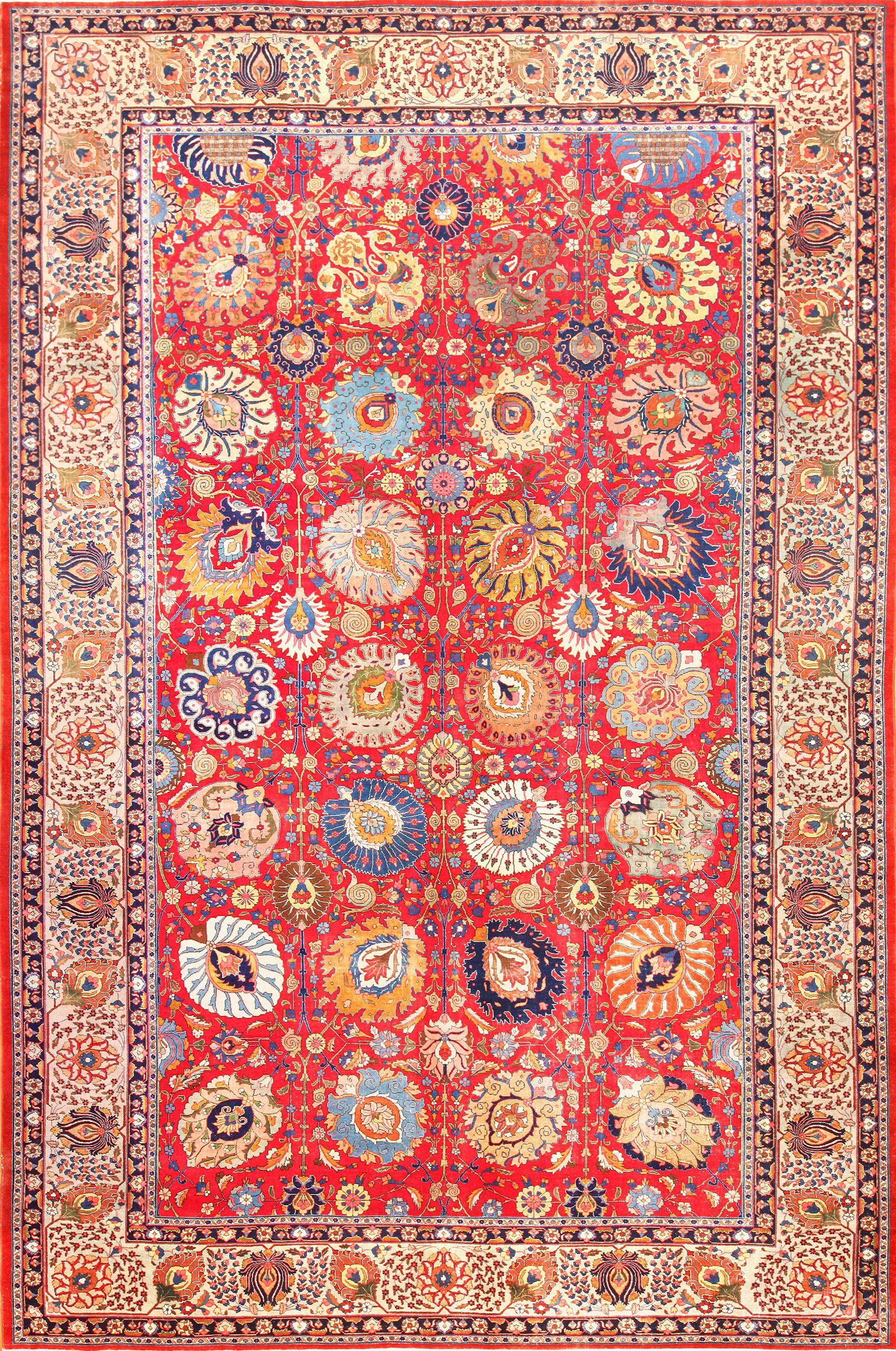Large Red Persian Tabriz Rug by Nazmiyal