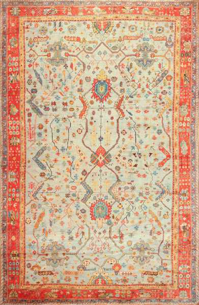 Light Blue Antique Turkish Oushak Rug 49145