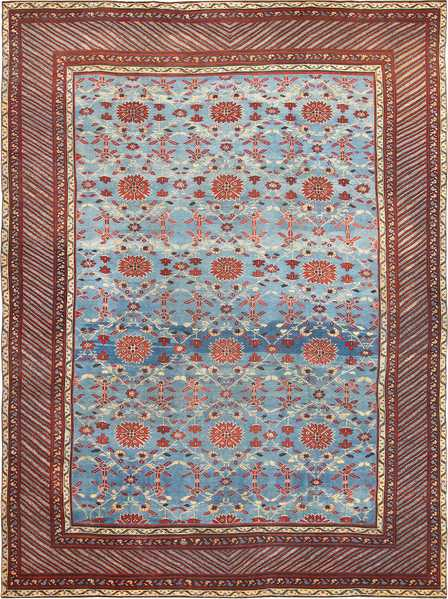 Light Blue Room Size Antique Indian Rug 48823