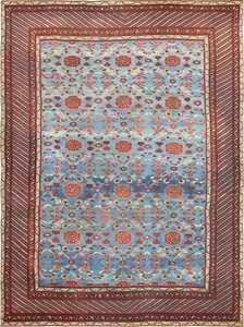 Light Blue Room Size Antique Indian Agra Rug 48823 Nazmiyal