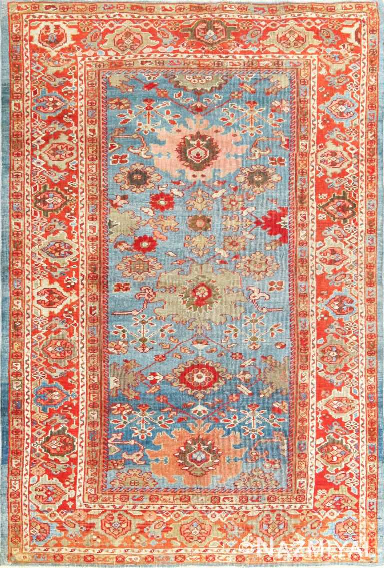 antique blue background persian sultanabad rug 49209 Nazmiyal