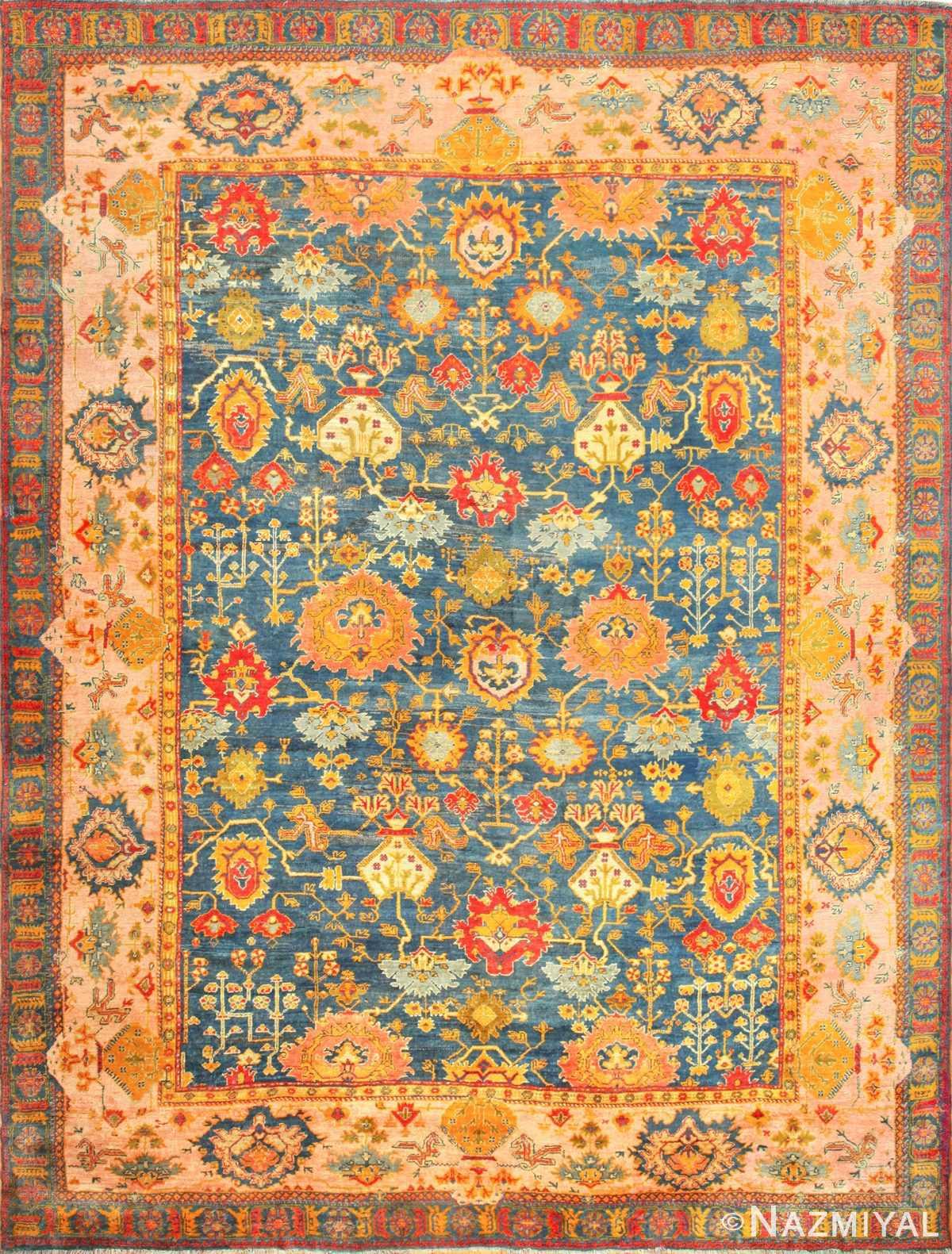 antique blue background turkish oushak rug 49108 Nazmiyal