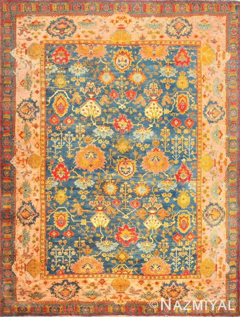 Large Blue Background Antique Turkish Oushak Rug 49108 Nazmiyal Antique Rugs