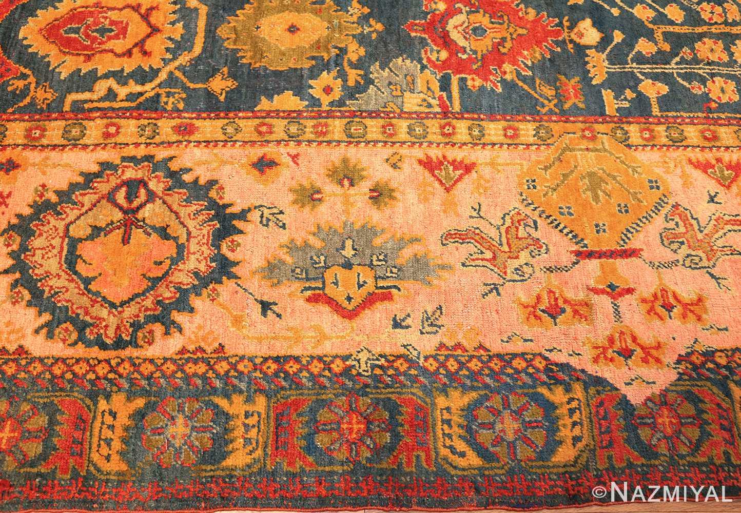 antique blue background turkish oushak rug 49108 border edited Namiyal