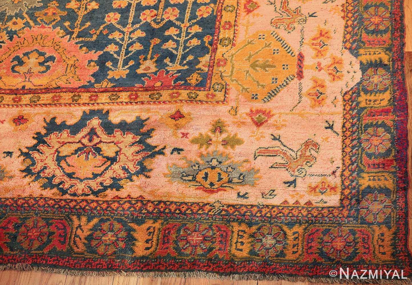 antique blue background turkish oushak rug 49108 corner edited Nazmiyal