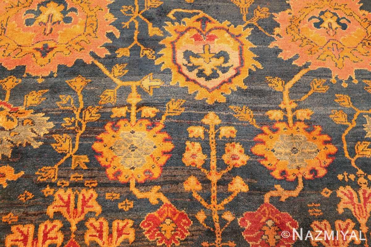 antique blue background turkish oushak rug 49108 field edited Nazmiyal