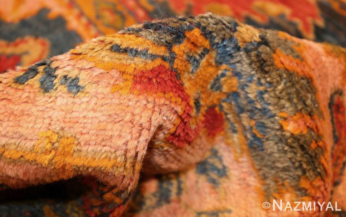 antique blue background turkish oushak rug 49108 pile Nazmiyal
