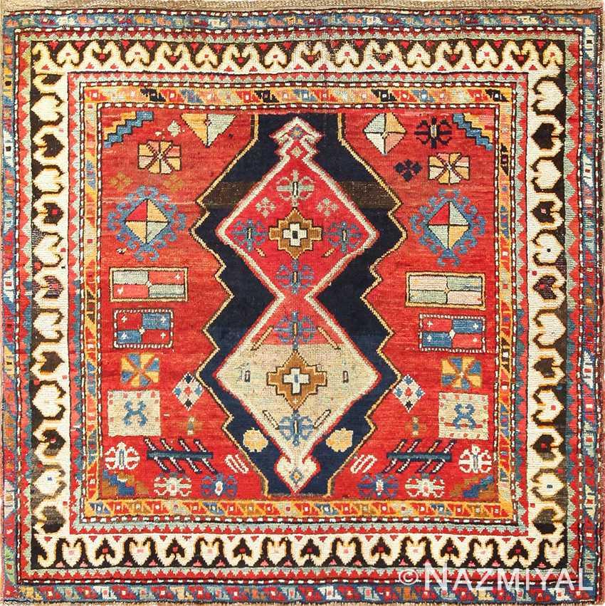 Beautiful Antique Tribal Square Caucasian Kazak Rug 49204