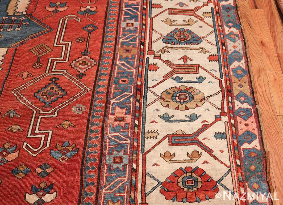 Antique Tribal Persian Bakshaish Rug 49137 Ivory Border Nazmiyal