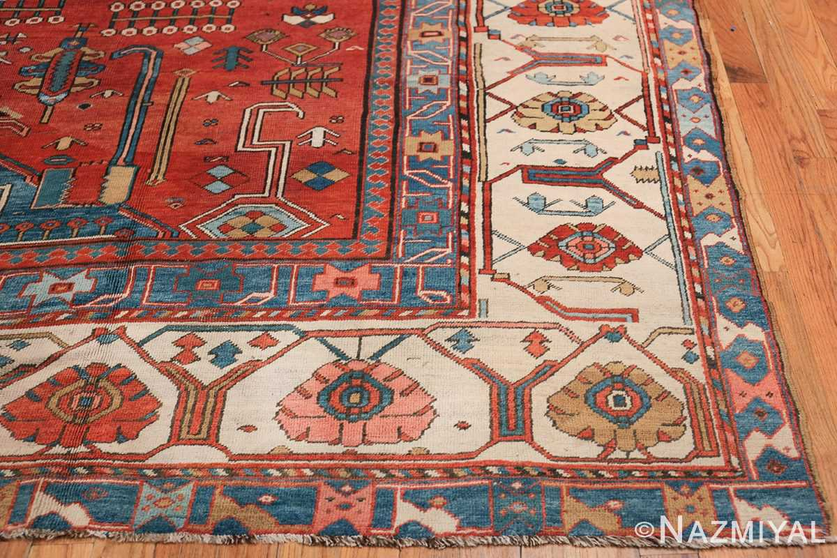 Antique Tribal Persian Bakshaish Rug 49137 Side Corner Nazmiyal