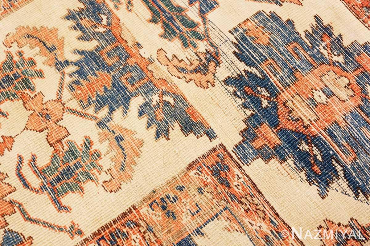 Back detail Tribal Antique Blue Background Persian Bakshaish rug 49202 by Nazmiyal