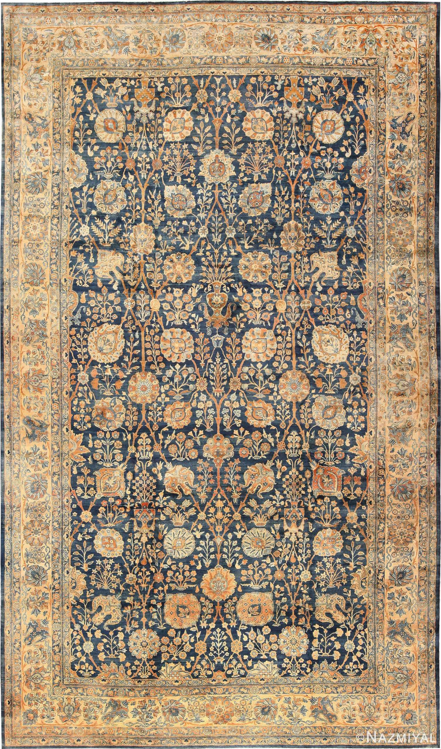 Blue Vase Design Large Antique Persian Kerman Rug 48225 Nazmiyal