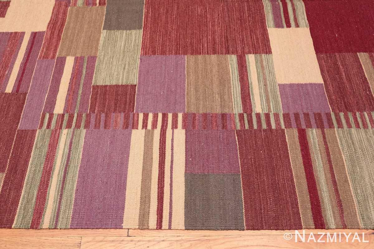 Border Swedish inspired Scandinavian Modern Kilim carpet 48479 by Nazmiyal