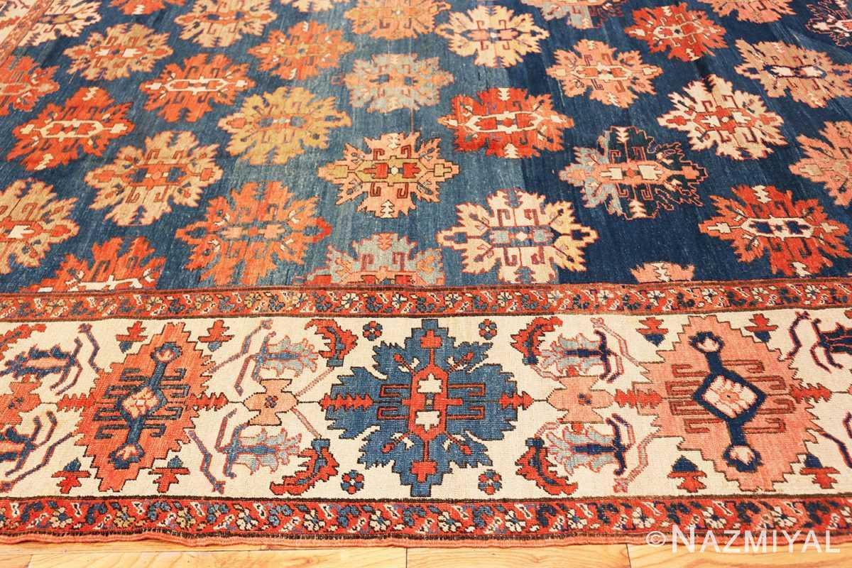 Border Tribal Antique Blue Background Persian Bakshaish rug 49202 by Nazmiyal