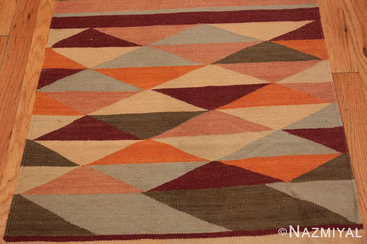 Close-up Vintage Swedish inspired Modern Indian Kilim runner 48476 by Nazmiyal