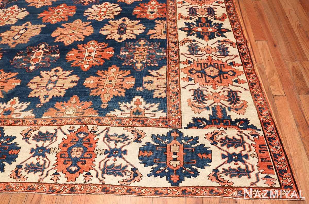 Corner Tribal Antique Blue Background Persian Bakshaish rug 49202 by Nazmiyal