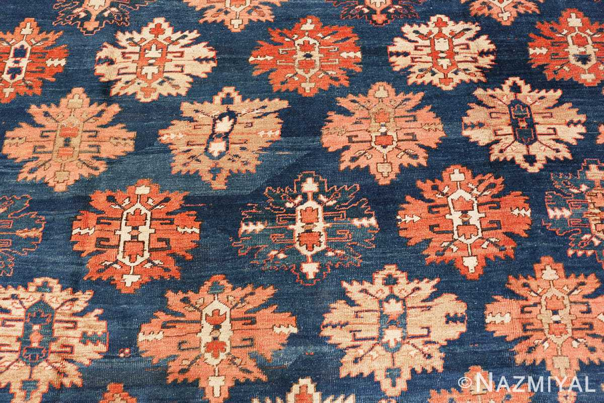 Detail Tribal Antique Blue Background Persian Bakshaish rug 49202 by Nazmiyal