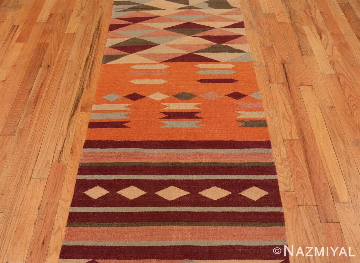 Field Vintage Swedish inspired Modern Indian Kilim runner 48476 by Nazmiyal