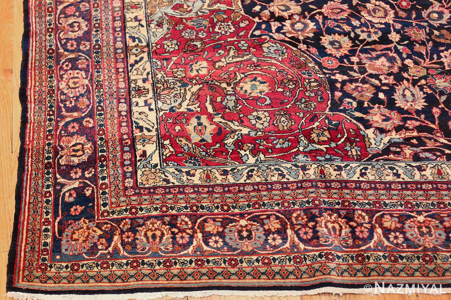 fine antique persian tehran rug 49194 corner Nazmiyal