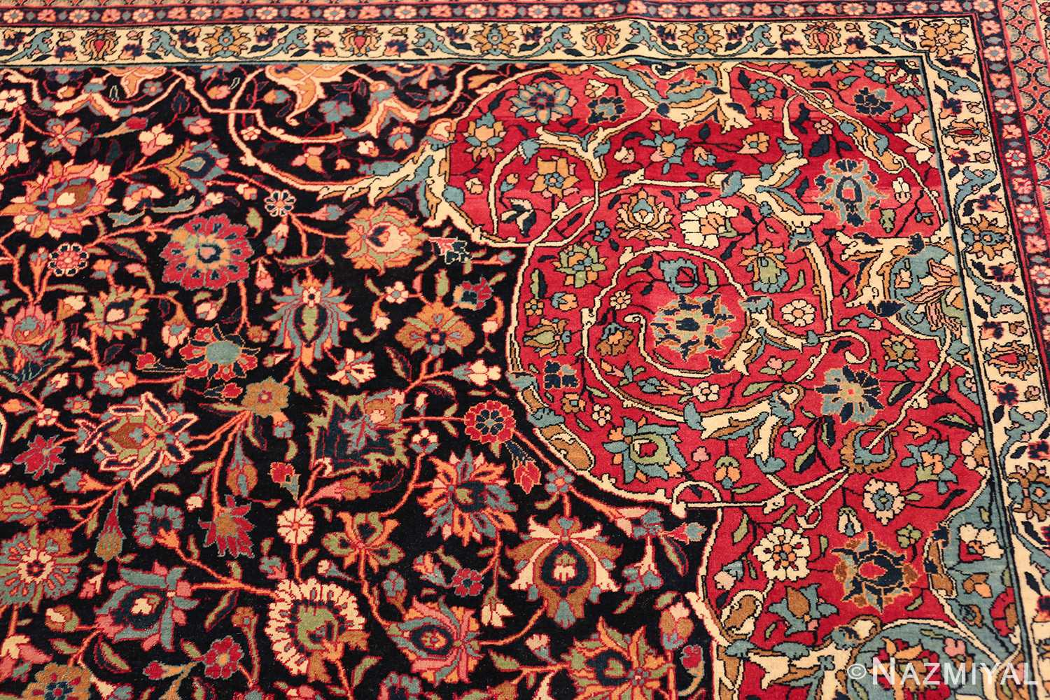 fine antique persian tehran rug 49194 design Nazmiyal