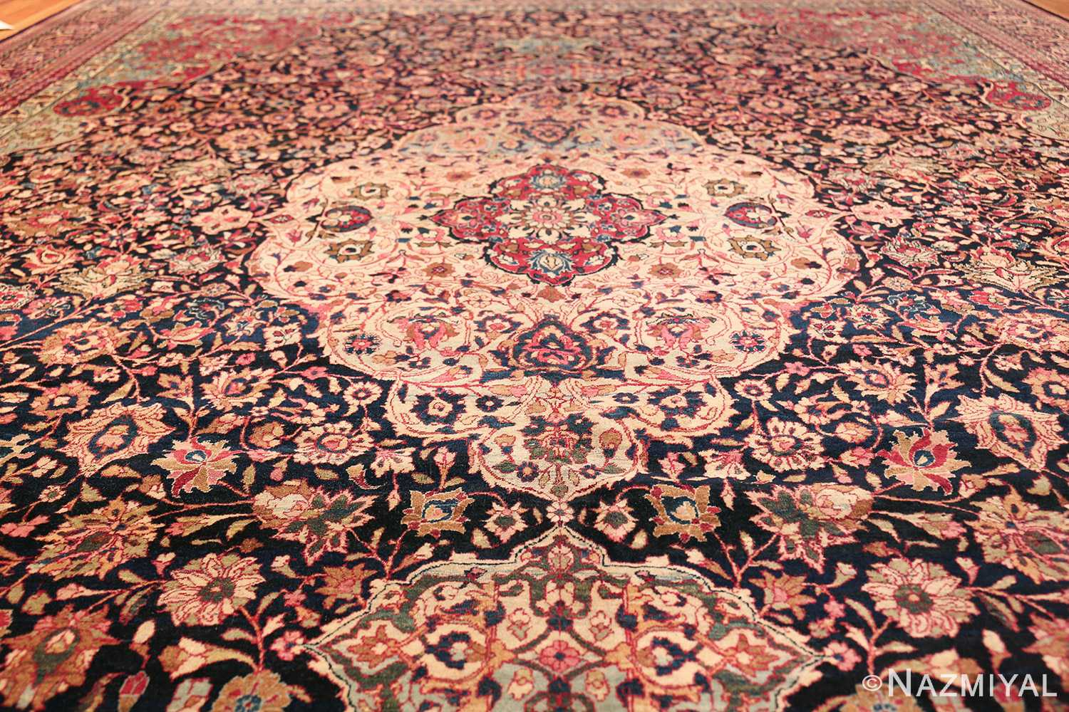 fine antique persian tehran rug 49194 field Nazmiyal