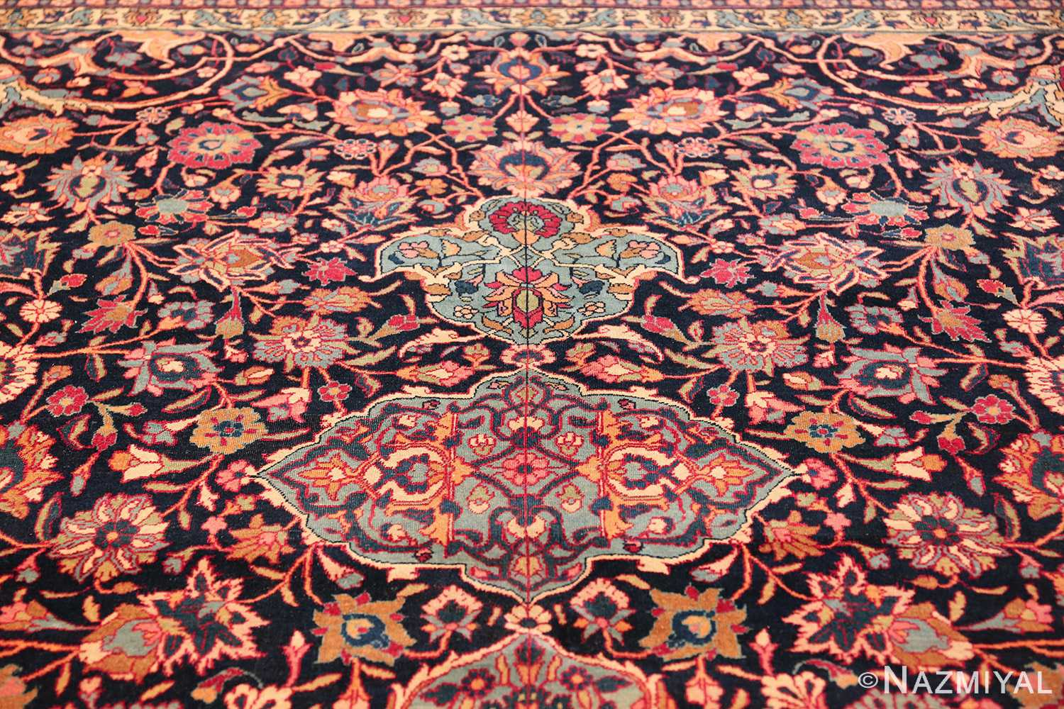 fine antique persian tehran rug 49194 tiara Nazmiyal