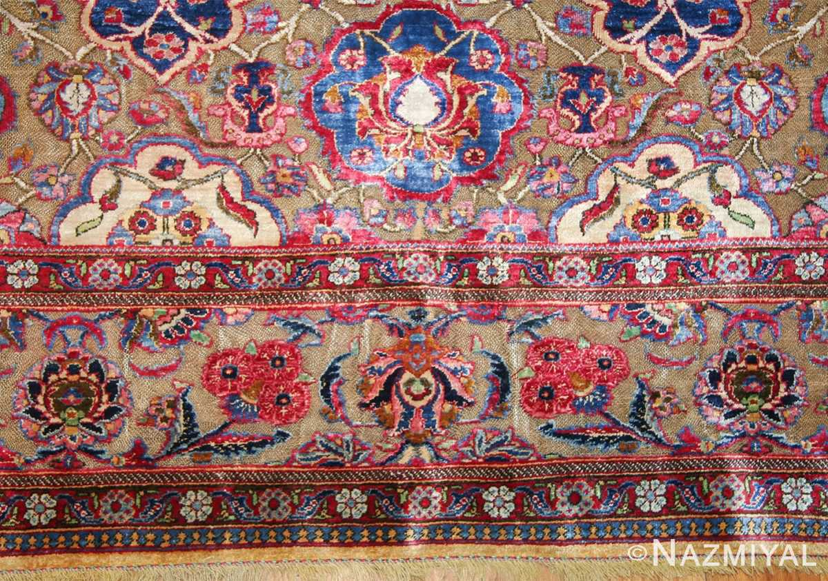 Fine Antique Silk and Metalic Thread Persian Souf Kashan Rug 49205 Border Design Nazmiyal