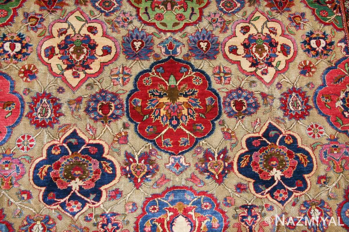 Fine Antique Silk and Metalic Thread Persian Souf Kashan Rug 49205 Field Nazmiyal