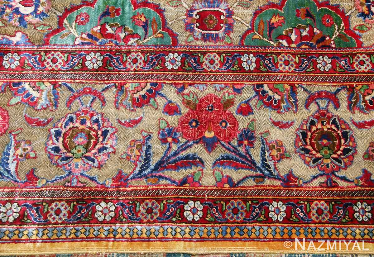 Fine Antique Silk and Metalic Thread Persian Souf Kashan Rug 49205 Flower Border Nazmiyal