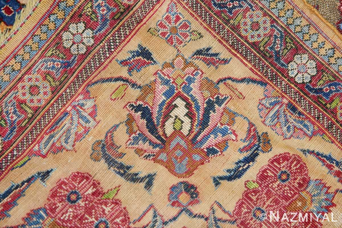Fine Antique Silk and Metalic Thread Persian Souf Kashan Rug 49205 Knots Woven Nazmiyal